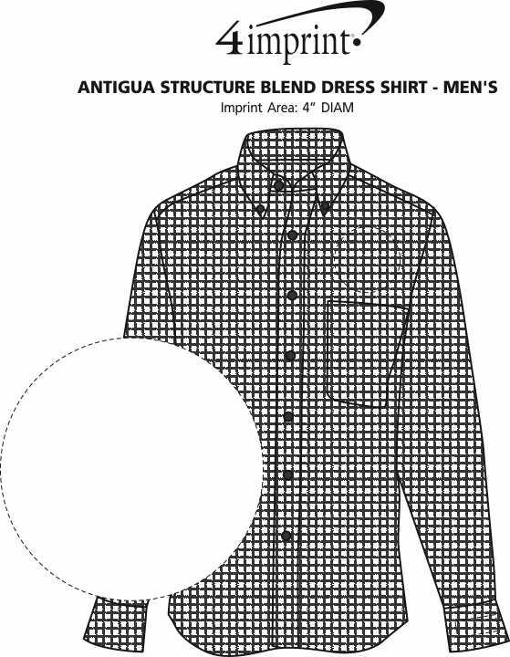Imprint Area of Antigua Structure Blend Dress Shirt - Men's