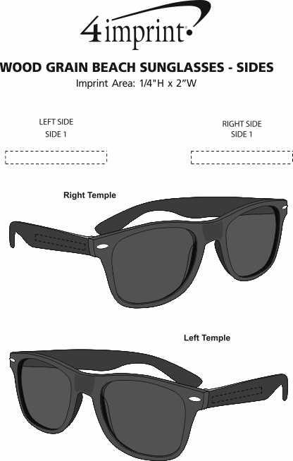 Imprint Area of Wood Grain Beach Sunglasses - Sides