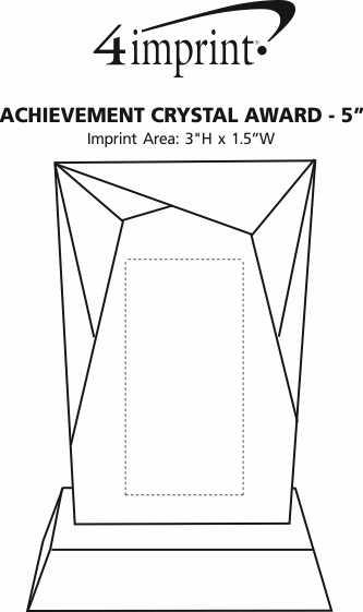 "Imprint Area of Achievement Crystal Award - 5"" - 24 hr"