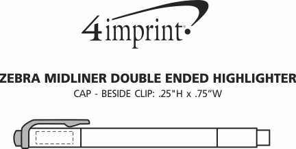 Imprint Area of Zebra Midliner Double Ended Highlighter