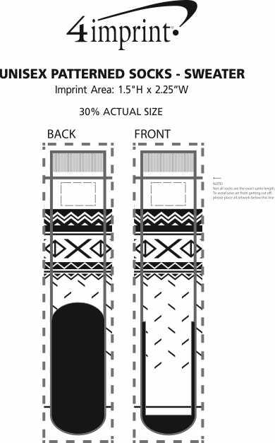 Imprint Area of Unisex Patterned Socks - Sweater