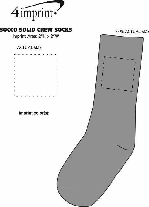 Imprint Area of SOCCO Solid Crew Socks