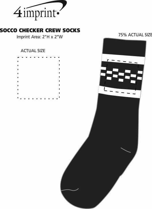 Imprint Area of SOCCO Checker Crew Socks