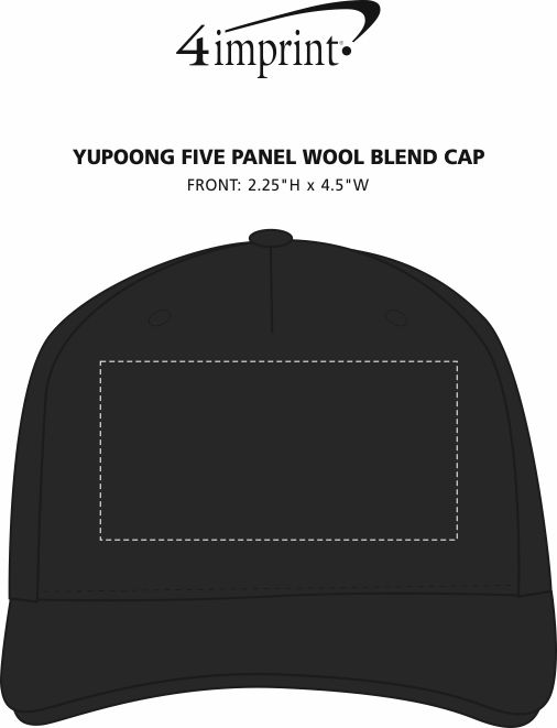 Imprint Area of Yupoong Five Panel Wool Blend Cap