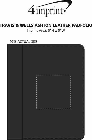 Imprint Area of Travis & Wells Ashton Leather Padfolio