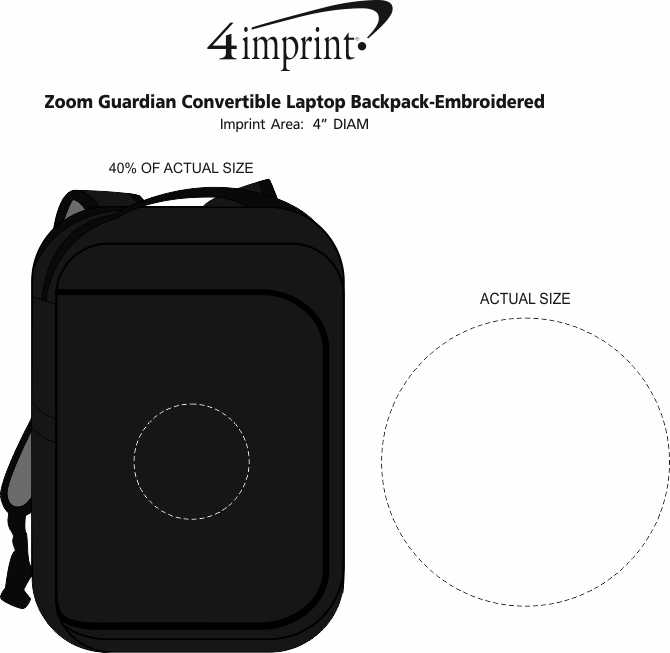 Imprint Area of Zoom Guardian Convertible Laptop Backpack - Embroidered