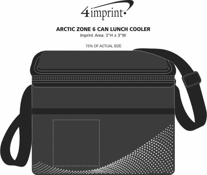 Imprint Area of Arctic Zone 6 Can Lunch Cooler