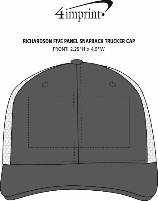 Imprint Area of Richardson Five Panel Snapback Trucker Cap