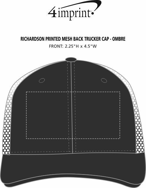 Imprint Area of Richardson Printed Mesh Back Trucker Cap - OMBRE