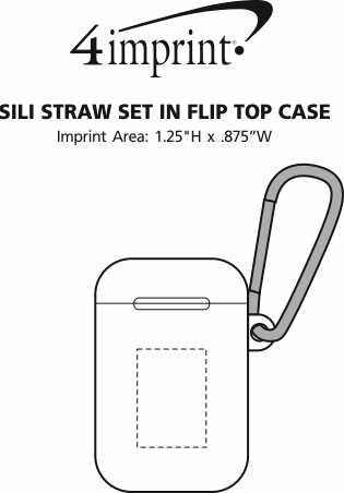 Imprint Area of Sili Straw Set in Flip Top Case