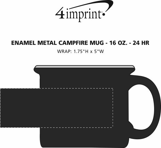Imprint Area of Enamel Metal Campfire Mug - 16 oz. - 24 hr