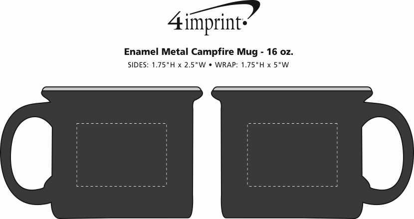 Imprint Area of Enamel Metal Campfire Mug - 16 oz.