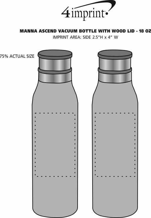 Imprint Area of Manna Ascend Vacuum Bottle with Wood Lid - 18 oz.