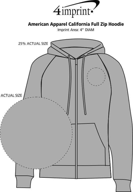 Imprint Area of American Apparel California Full-Zip Hoodie