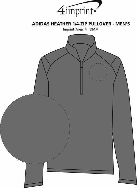 Imprint Area of adidas Heather 1/4-Zip Pullover - Men's