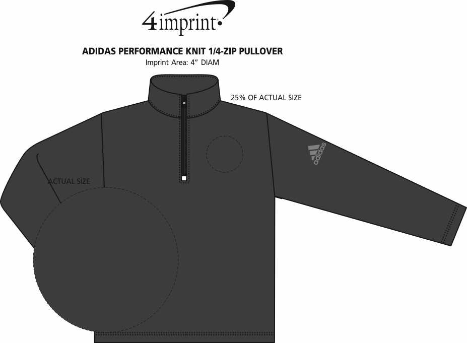 Imprint Area of adidas Performance Knit 1/4-Zip Pullover