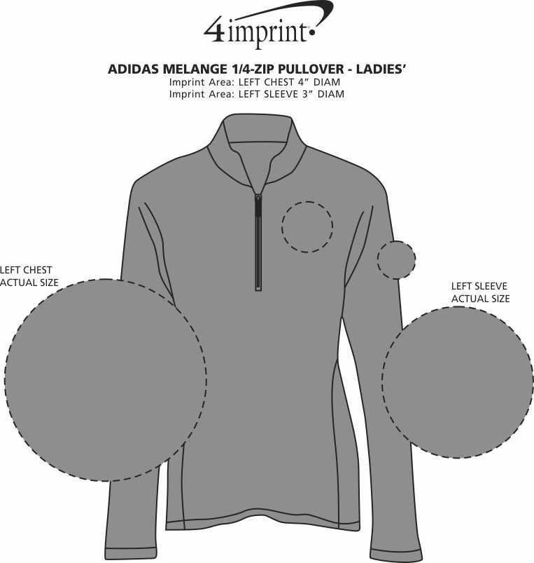Imprint Area of adidas Melange 1/4-Zip Pullover - Ladies'
