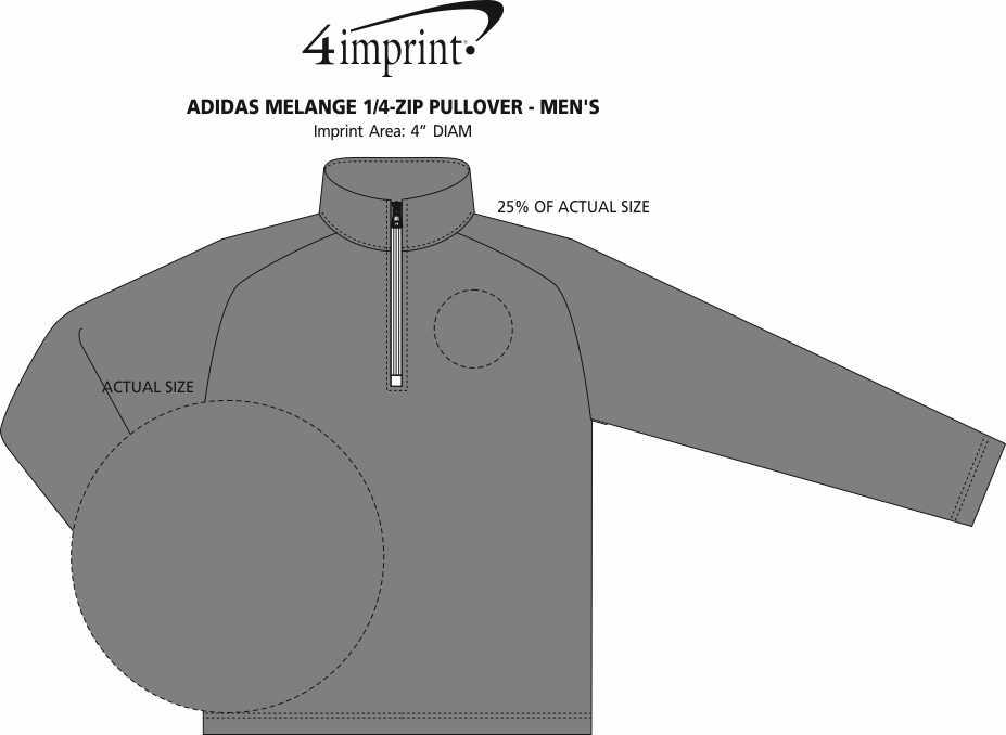 Imprint Area of adidas Melange 1/4-Zip Pullover - Men's