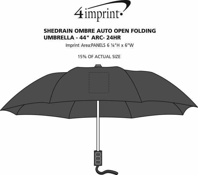 "Imprint Area of ShedRain Ombre Auto Open Folding Umbrella - 44"" Arc - 24 hr"