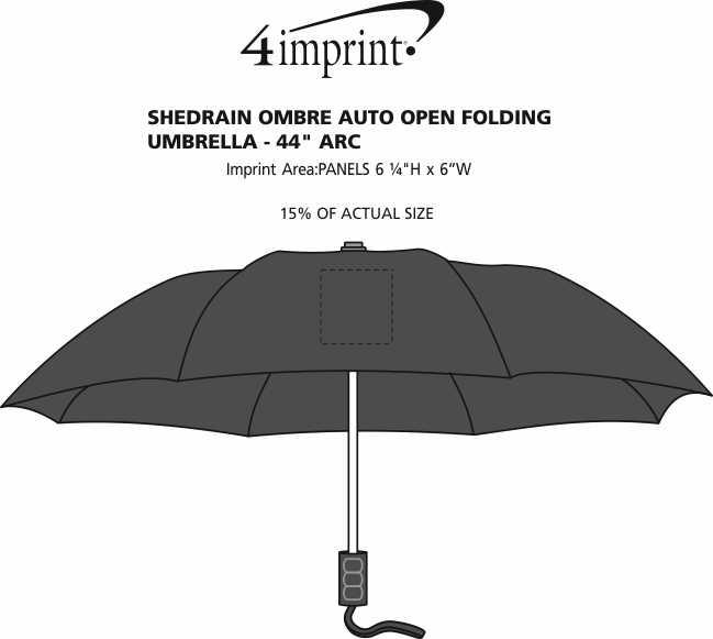 "Imprint Area of ShedRain Ombre Auto Open Folding Umbrella - 44"" Arc"