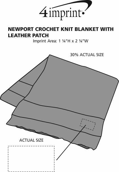 Imprint Area of Newport Crochet Knit Blanket with Leather Patch