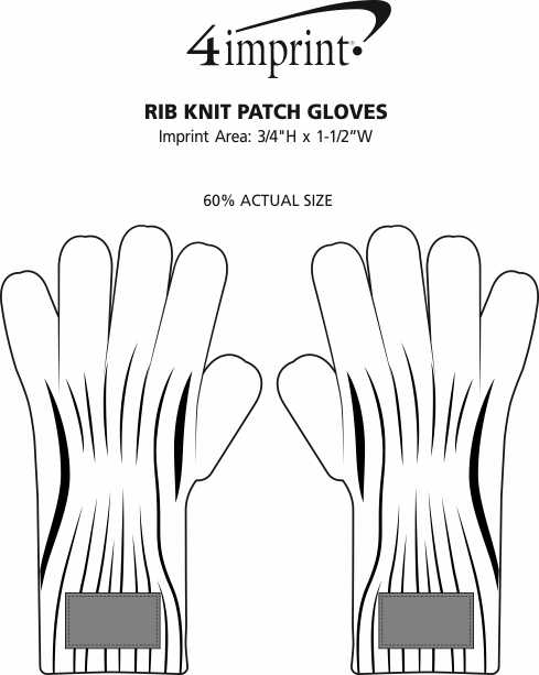 Imprint Area of Rib Knit Patch Gloves