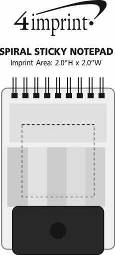 Imprint Area of Spiral Sticky Notepad