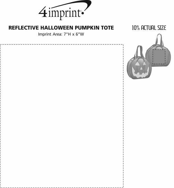 Imprint Area of Reflective Halloween Pumpkin Tote