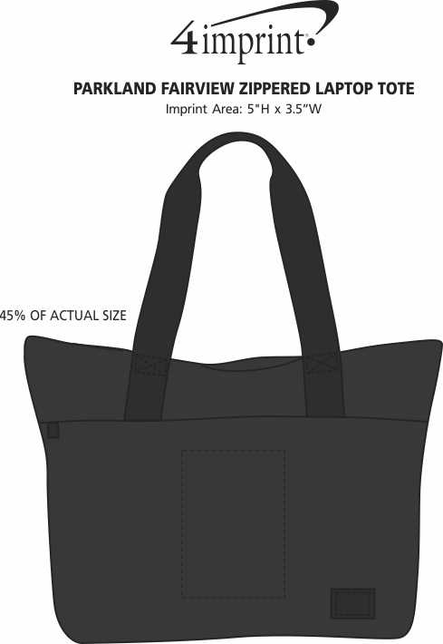 Imprint Area of Parkland Fairview Zippered Laptop Tote