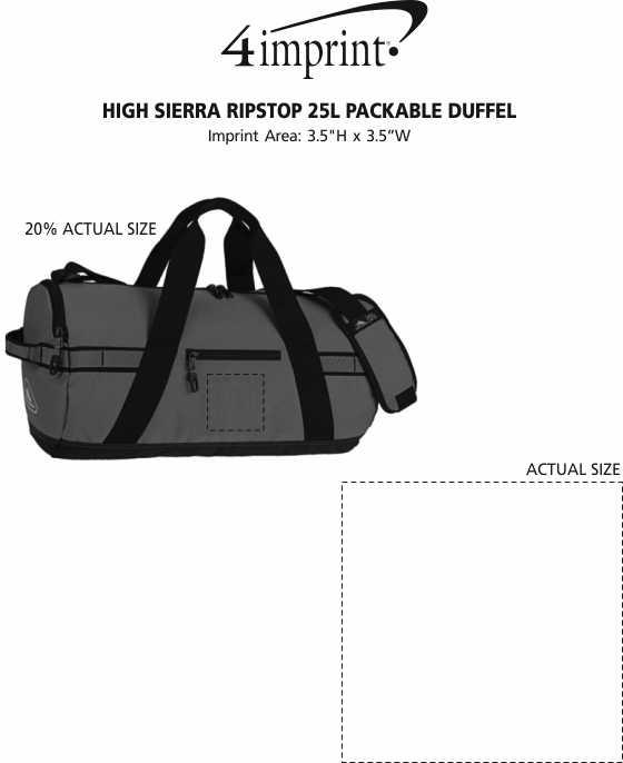 Imprint Area of High Sierra Ripstop 25L Packable Duffel