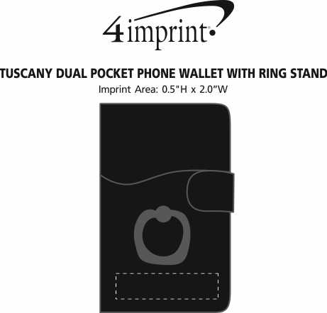 Imprint Area of Tuscany Dual Pocket Phone Wallet with Ring Stand