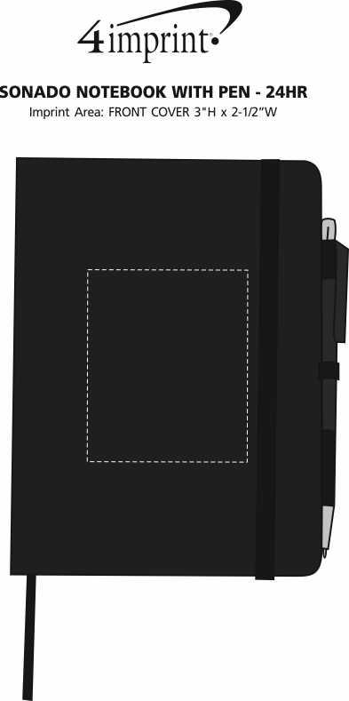 Imprint Area of Sonado Notebook with Pen - 24 hr