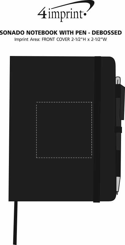 Imprint Area of Sonado Notebook with Pen - Debossed