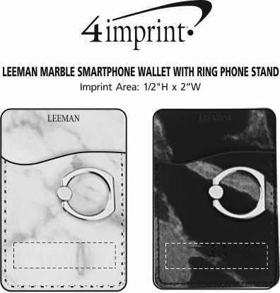 Imprint Area of Leeman Marble Smartphone Wallet with Ring Phone Stand