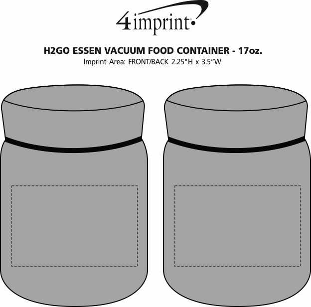 Imprint Area of h2go Essen Vacuum Food Container - 17 oz.