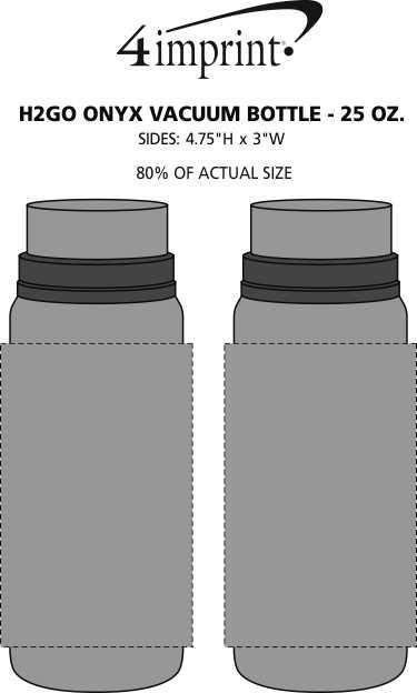 Imprint Area of h2go Onyx Vacuum Bottle - 25 oz.