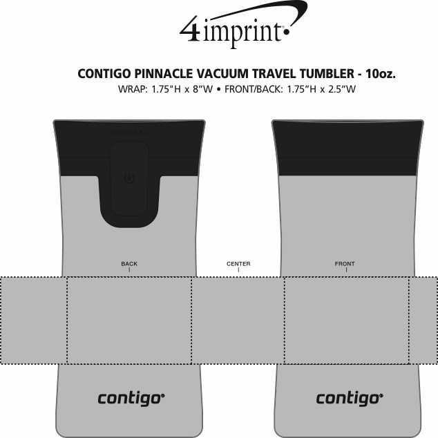 Imprint Area of Contigo Pinnacle Vacuum Travel Tumbler - 10 oz.