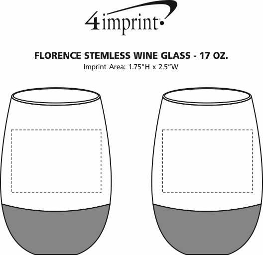 Imprint Area of Florence Stemless Wine Glass - 17 oz.