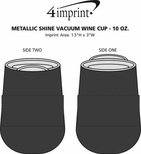 Imprint Area of Metallic Shine Vacuum Wine Cup - 10 oz.