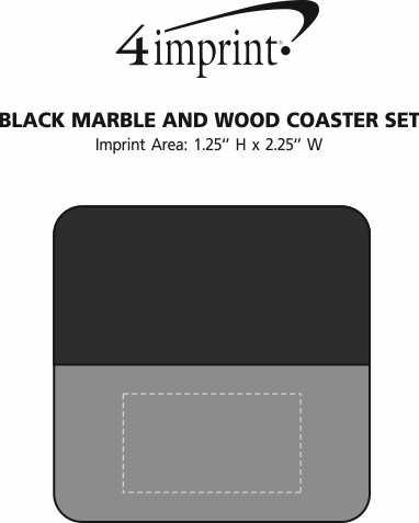 Imprint Area of Black Marble and Wood Coaster Set