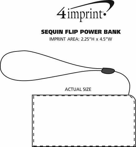 Imprint Area of Sequin Flip Power Bank