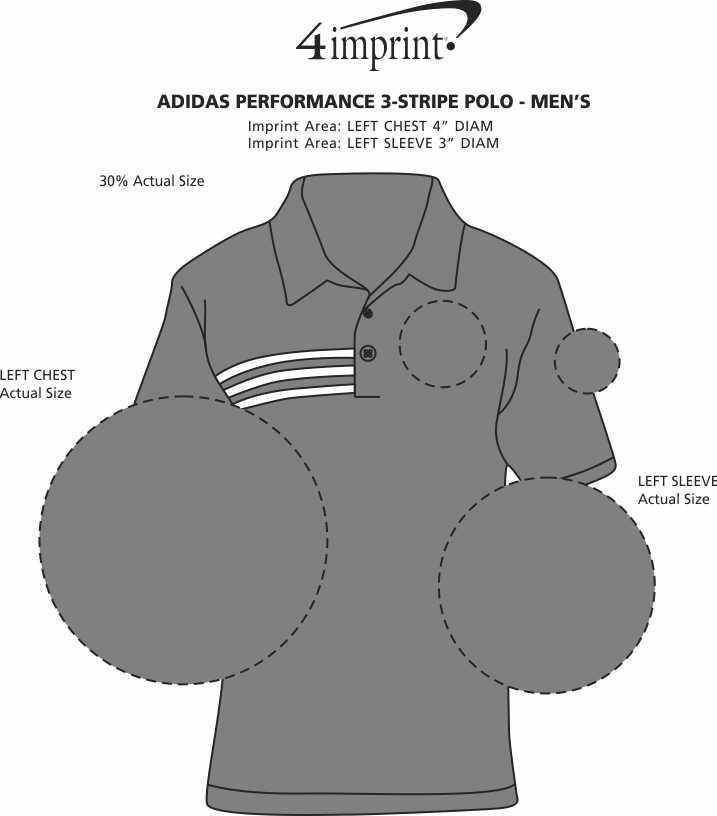 Imprint Area of adidas Performance 3-Stripe Polo - Men's