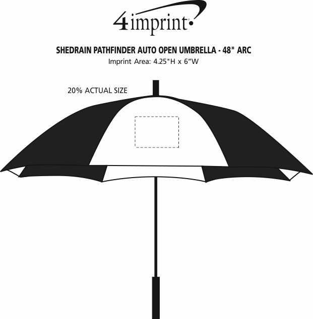 "Imprint Area of ShedRain Pathfinder Auto Open Umbrella - 48"" Arc"