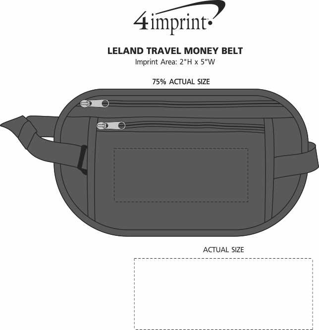 Imprint Area of Leland Travel Money Belt