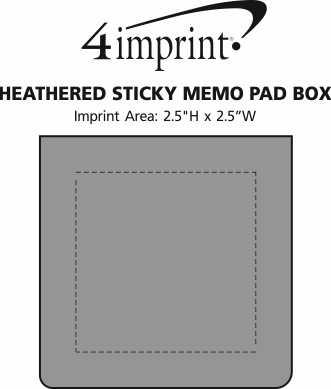 Imprint Area of Heathered Sticky Memo Pad Box