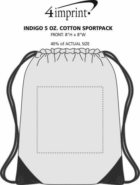Imprint Area of Indigo 5 oz. Cotton Sportpack
