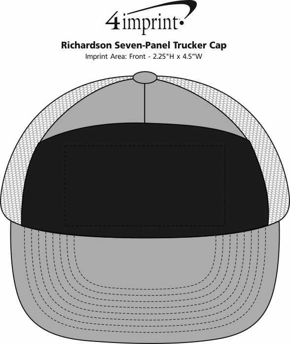 Imprint Area of Richardson Seven-Panel Trucker Cap