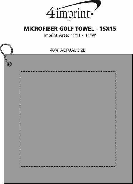 Imprint Area of Microfiber Golf Towel - 15x15