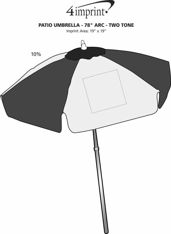 "Imprint Area of Patio Umbrella - 78"" Arc - Two Tone"
