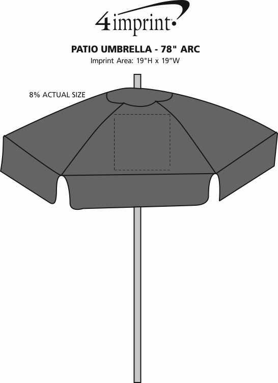 """Imprint Area of Patio Umbrella - 78"""" Arc"""